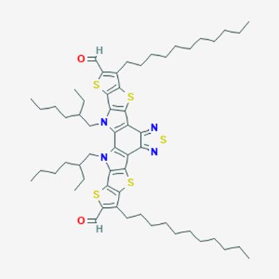 Picture of Y6-5,3,27-Bis(2-ethylhexyl)-8,22-di(undecyl)-6,10,15,20,24-pentathia-3,14,16,27-tetrazaoctacyclo[16.9.0.02,12.04,11.05,9.013,17.019,26.021,25]heptacosa-1(18),2(12),4(11),5(9),7,13,16,19(26),21(25),22-decaene-7,23-dicarbaldehyde